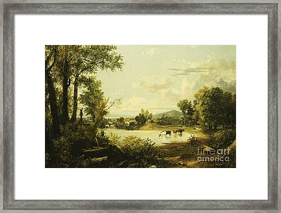 The Quiet Valley Framed Print by Jasper Francis Cropsey