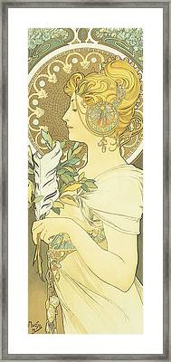 The Quill Framed Print by Alphonse Marie Mucha
