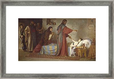 The Raising Of Jairus' Daughter Framed Print by Vasilij Dmitrievich Polenov