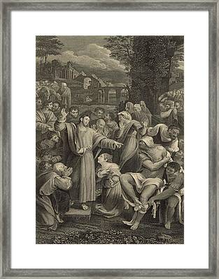 The Raising Of Lazarus 1886 Engraving Framed Print by Antique Engravings