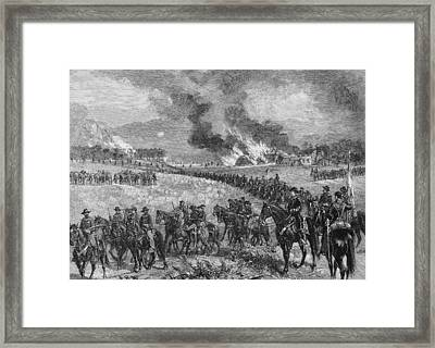 The Rear-guard General Custers Division Retiring From Mount Jackson, October 7th 1864, Illustration Framed Print by Alfred R. Waud