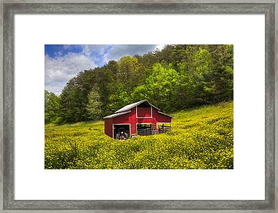 The Red Barn Framed Print by Debra and Dave Vanderlaan