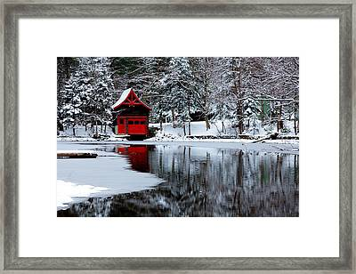 The Red Boathouse In Winter Framed Print by David Patterson