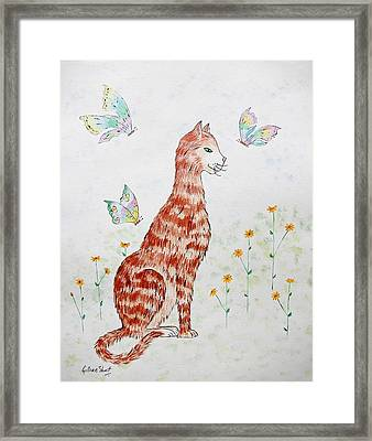 The Red Cat Framed Print by Gillian Short