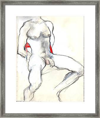 The Red Chair - Male Nude Framed Print by Carolyn Weltman