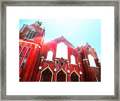 The Red Church By Sharon Cummings Framed Print by Sharon Cummings