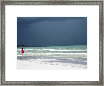 The Red Dress - Beach Art By Sharon Cummings Framed Print by Sharon Cummings