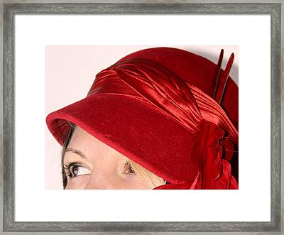The Red Hat Framed Print by  Andrea Lazar