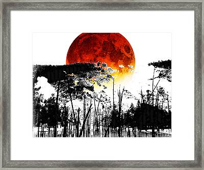 The Red Moon - Landscape Art By Sharon Cummings Framed Print by Sharon Cummings