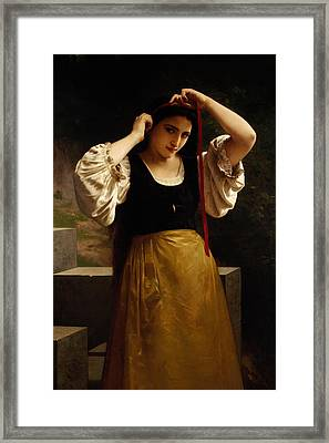 The Red Ribbon Framed Print by William Adolphe Bouguereau
