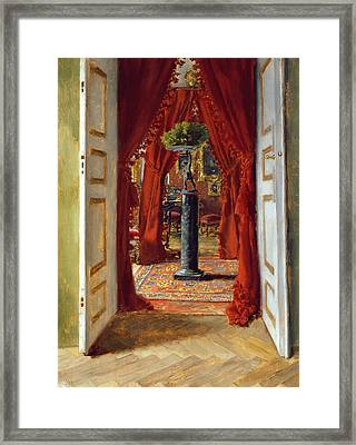 The Red Room Framed Print by Albert von Keller