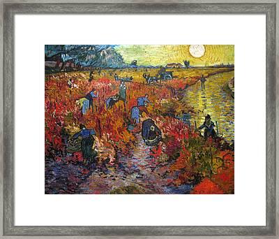 The Red Vineyard Framed Print by Vincent van Gogh