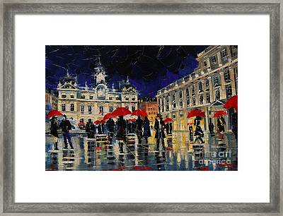 The Rendezvous Of Terreaux Square In Lyon Framed Print by Mona Edulesco
