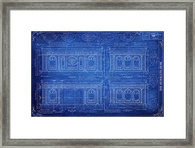 The Resolute Desk Blueprints / Aged Framed Print by Kenneth Perez