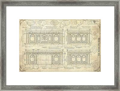 The Resolute Desk Blueprints / Ivory Scroll Framed Print by Kenneth Perez
