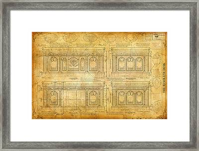 The Resolute Desk Blueprints /scrolled Parchment -1 Framed Print by Kenneth Perez