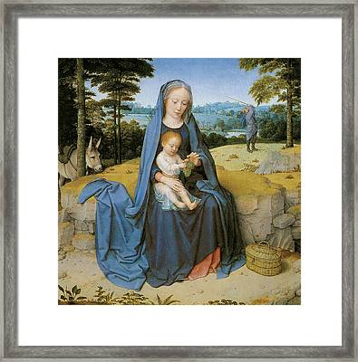 The Rest On The Flight Into Eqypt Framed Print by Gerard David