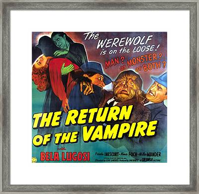 The Return Of The Vampire Framed Print by Columbia Pictures