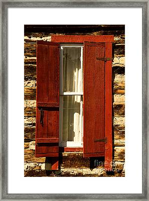 The Reynold's Cabin Window Framed Print by Catherine Fenner
