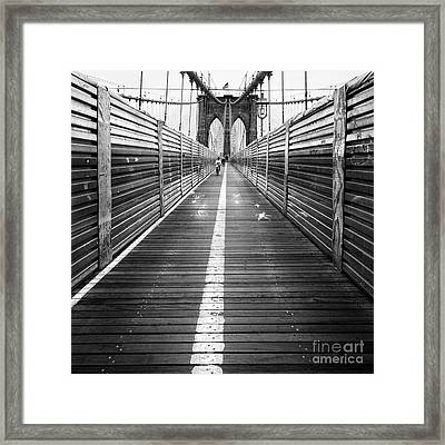 The Riders Brooklyn Bridge Framed Print by John Farnan