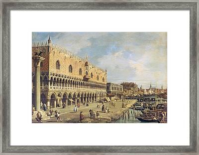 The Riva Degli Schiavoni, Venice Oil On Canvas Framed Print by Canaletto
