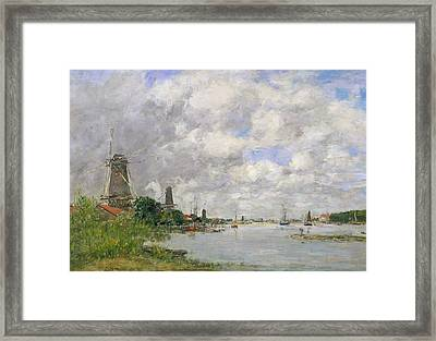 The River Meuse At Dordrecht Framed Print by Eugene Louis Boudin