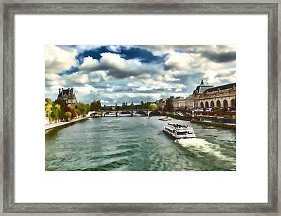 The River Seine Paris France Digital Water Color Framed Print by Tom Prendergast