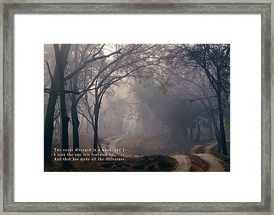 The Road Taken In Life Framed Print by Daniel Hagerman