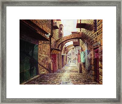 The Road To The Cross  Jerusalem Framed Print by Graham Braddock