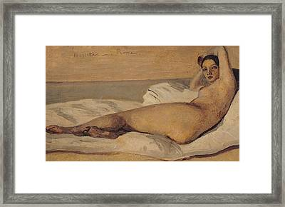 The Roman Odalisque Framed Print by Jean Baptiste Camille Corot