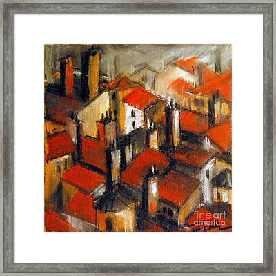 The Roofs Of Lyon Framed Print by Mona Edulesco