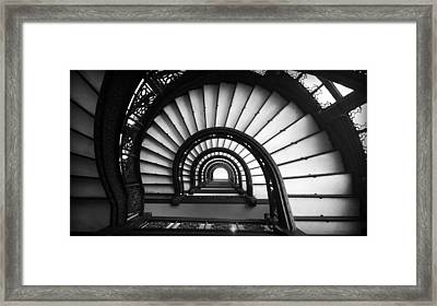 The Rookery Staircase In Black And White Framed Print by Kelly Hazel