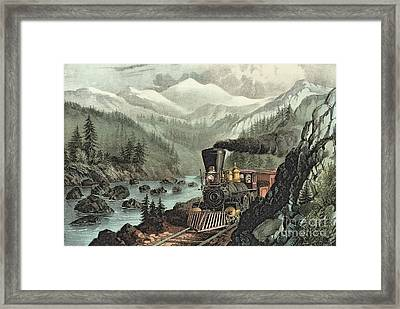 The Route To California Framed Print by Currier and Ives