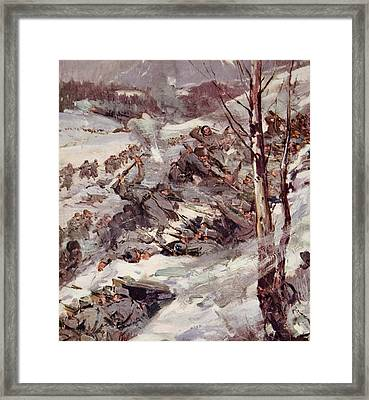 The Russians Fighting Their Way Over The Carpathians Framed Print by Cyrus Cuneo