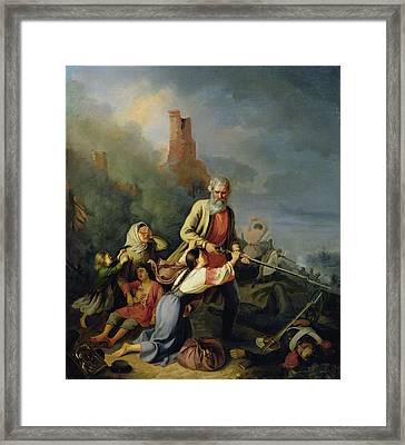 The Russians In 1812, 1855 Oil On Canvas Framed Print by Konstantin Przhceslavski