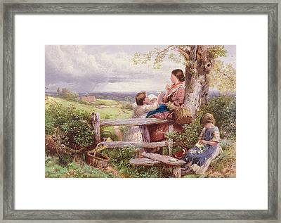 The Rustic Stile Framed Print by Myles Birket Foster