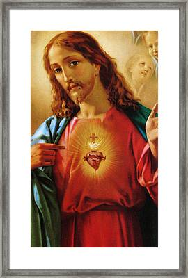 The Sacred Heart Of Jesus Framed Print by French School