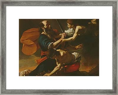 The Sacrifice Of Isaac, 1613 Oil On Canvas Framed Print by Mattia Preti