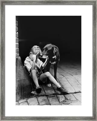 The Sad Boy Circa 1921 Framed Print by Aged Pixel
