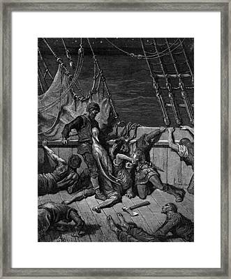 The Sailors Curse The Mariner Forced To Wear The Dead Albatross Around His Neck Framed Print by Gustave Dore