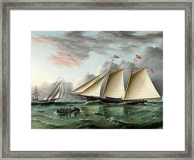 The Schooner Mohawk Off Sandy Hood Lighthouse Framed Print by James E Buttersworth