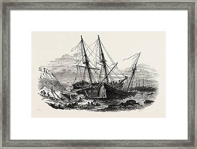 The Schooner Providence, And The Brig Hero Framed Print by English School