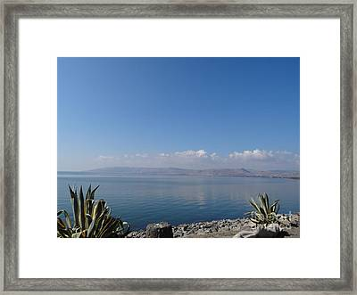The Sea Of Galilee At Capernaum Framed Print by Karen Jane Jones