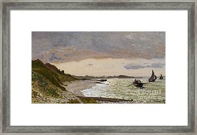 The Seashore At Sainte Adresse Framed Print by Claude Monet