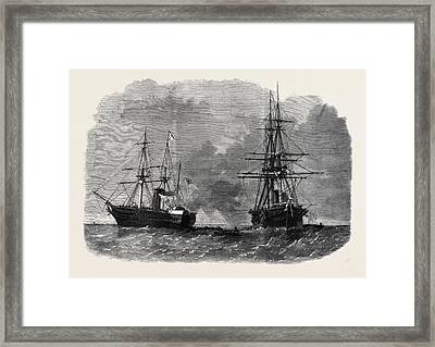 The Seizure By Captain Wilks Of The United States War Ship Framed Print by American School