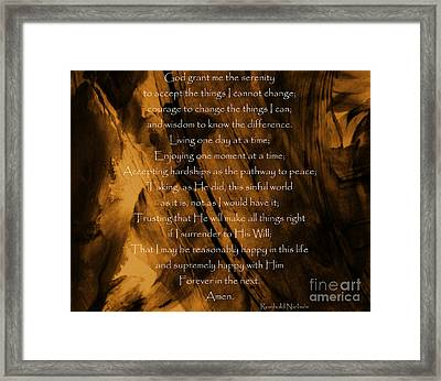 The Serenity Prayer Framed Print by Andrea Anderegg
