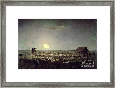 The Sheepfold   Moonlight Framed Print by Jean Francois Millet