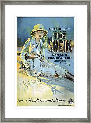The Sheik With Agnes Ayres And Rudolph Valentino - Movie Poster - 1921 Framed Print by Pablo Romero