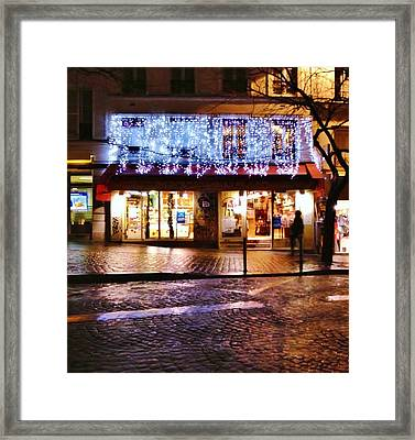 The Shimmer Of Lights In Paris Framed Print by Jan Moore