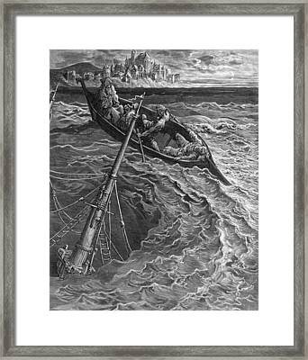 The Ship Sinks But The Mariner Is Rescued By The Pilot And Hermit Framed Print by Gustave Dore
